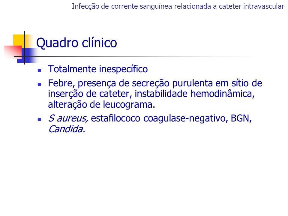 Quadro clínico Totalmente inespecífico Febre, presença de secreção purulenta em sítio de inserção de cateter, instabilidade hemodinâmica, alteração de