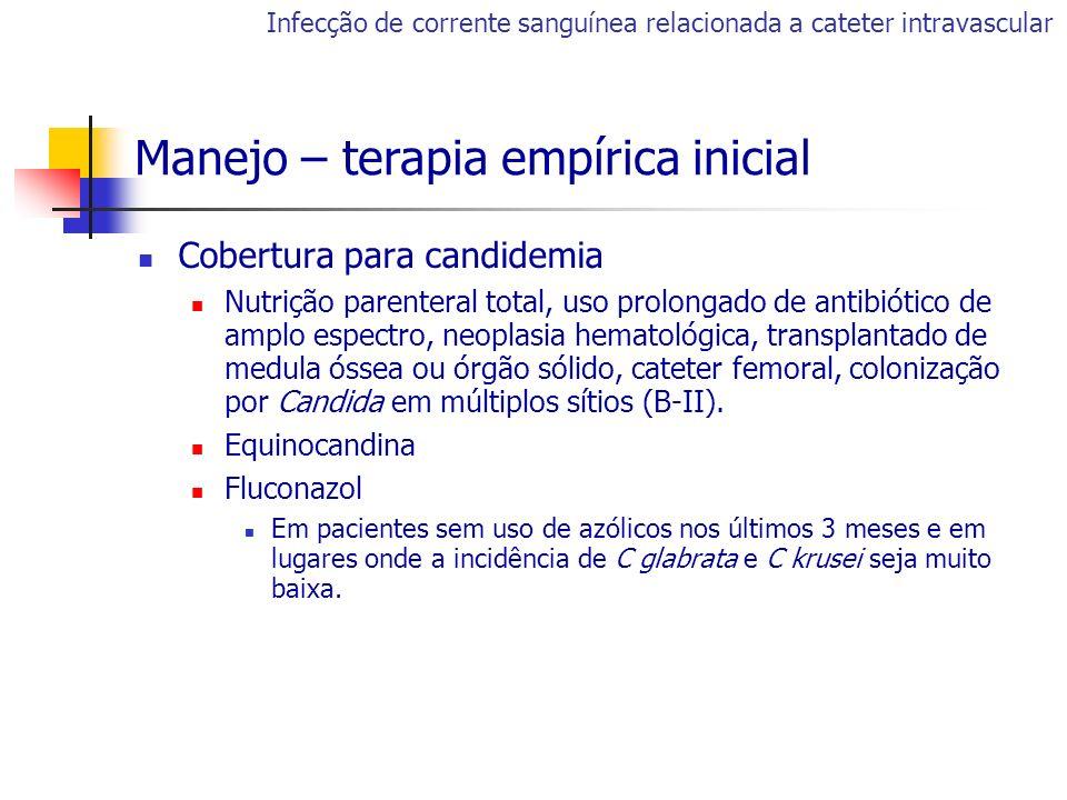 Cobertura para candidemia Nutrição parenteral total, uso prolongado de antibiótico de amplo espectro, neoplasia hematológica, transplantado de medula