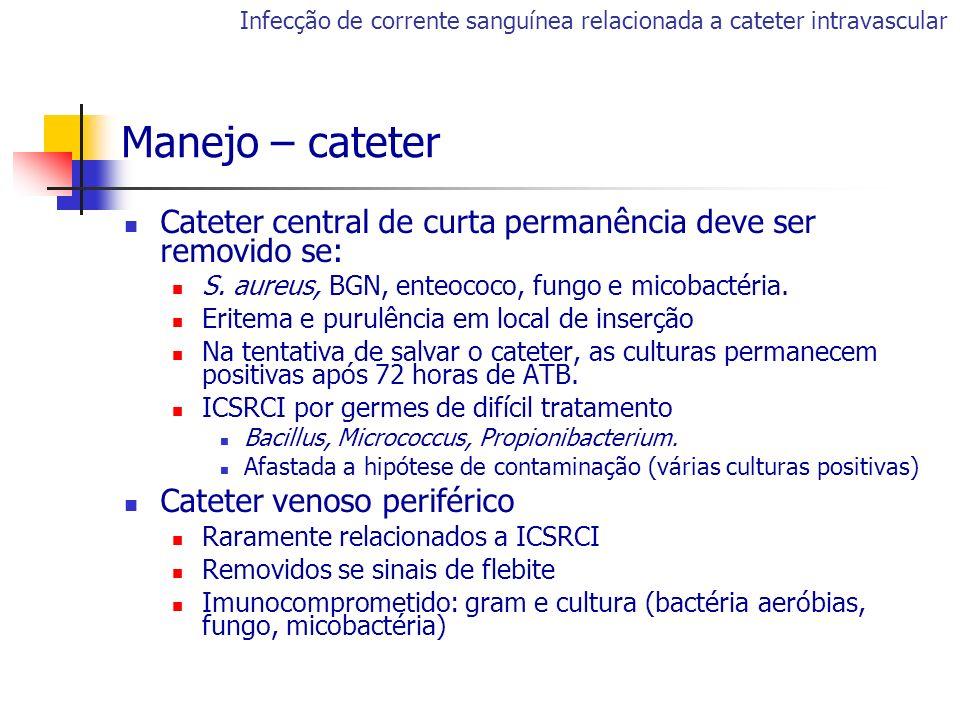 Cateter central de curta permanência deve ser removido se: S. aureus, BGN, enteococo, fungo e micobactéria. Eritema e purulência em local de inserção