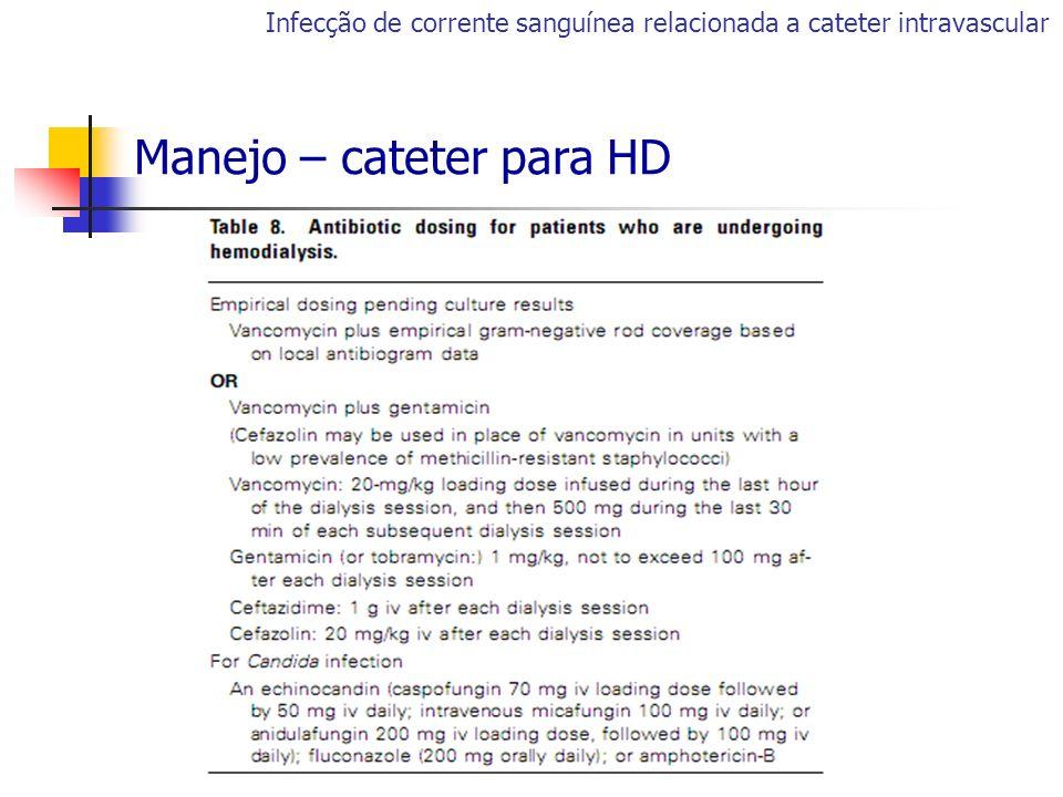 Infecção de corrente sanguínea relacionada a cateter intravascular Manejo – cateter para HD