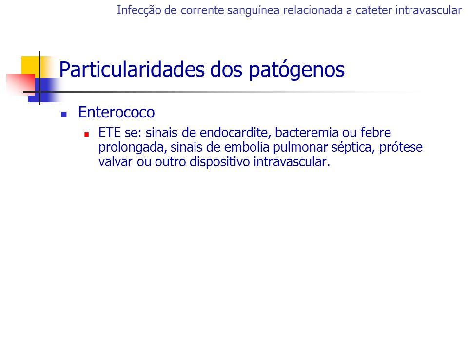 Enterococo ETE se: sinais de endocardite, bacteremia ou febre prolongada, sinais de embolia pulmonar séptica, prótese valvar ou outro dispositivo intr