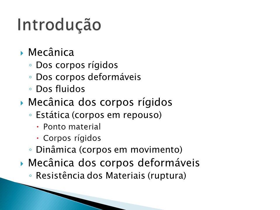 Mecânica Dos corpos rígidos Dos corpos deformáveis Dos fluidos Mecânica dos corpos rígidos Estática (corpos em repouso) Ponto material Corpos rígidos