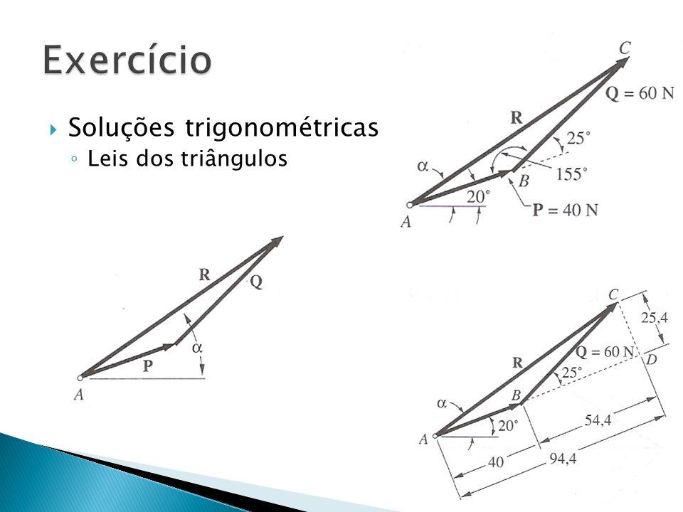 Soluções trigonométricas Leis dos triângulos