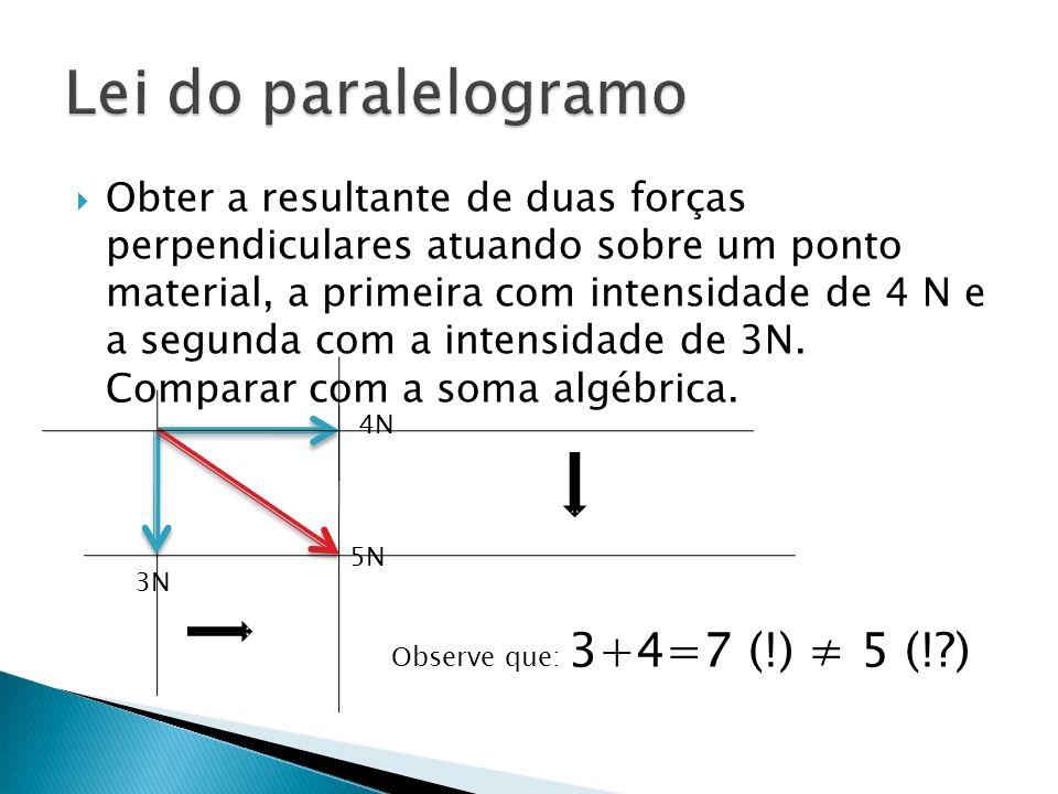 Obter a resultante de duas forças perpendiculares atuando sobre um ponto material, a primeira com intensidade de 4 N e a segunda com a intensidade de