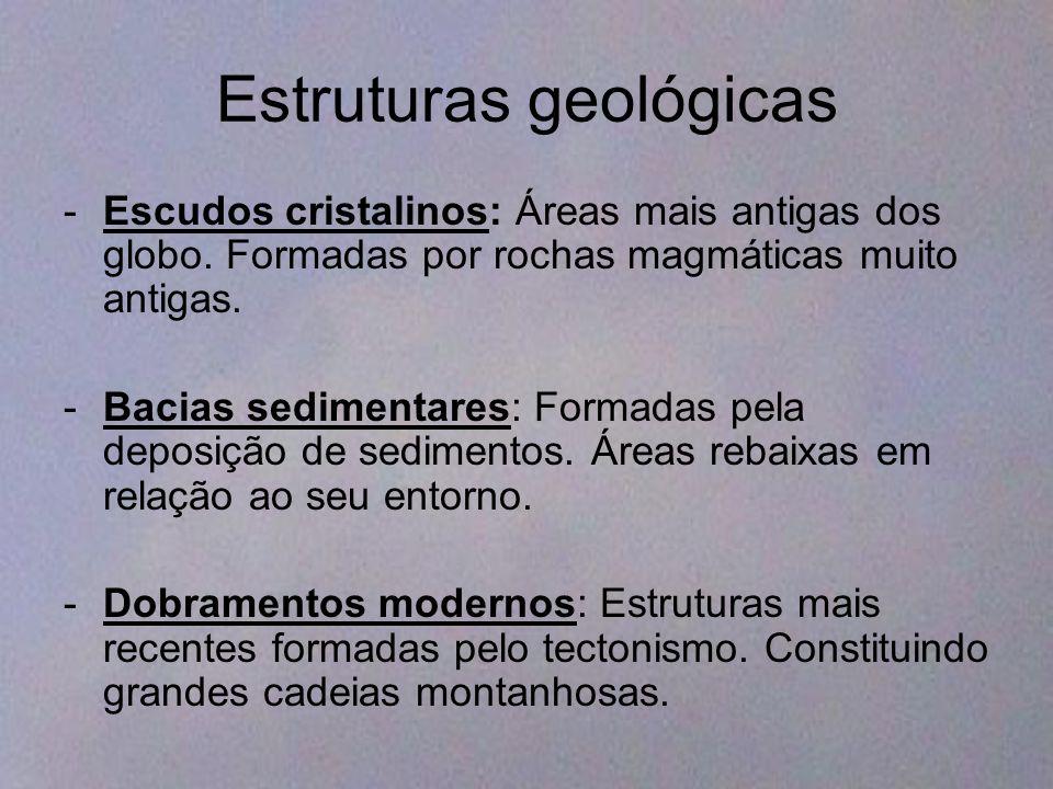 Estruturas geológicas -Escudos cristalinos: Áreas mais antigas dos globo. Formadas por rochas magmáticas muito antigas. -Bacias sedimentares: Formadas