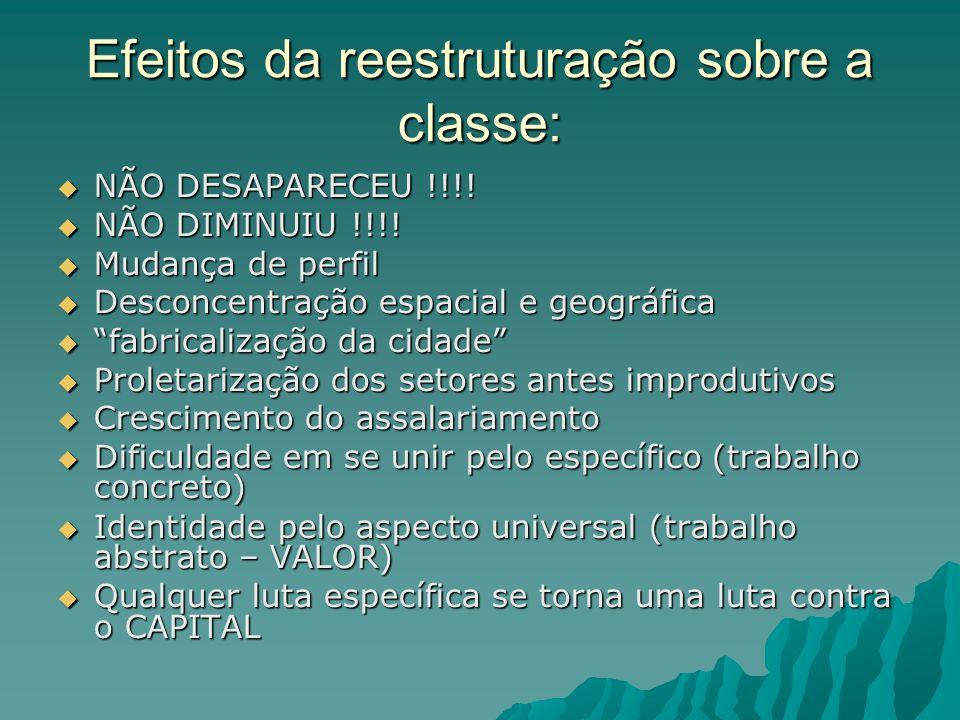 Efeitos da reestruturação sobre a classe: NÃO DESAPARECEU !!!.