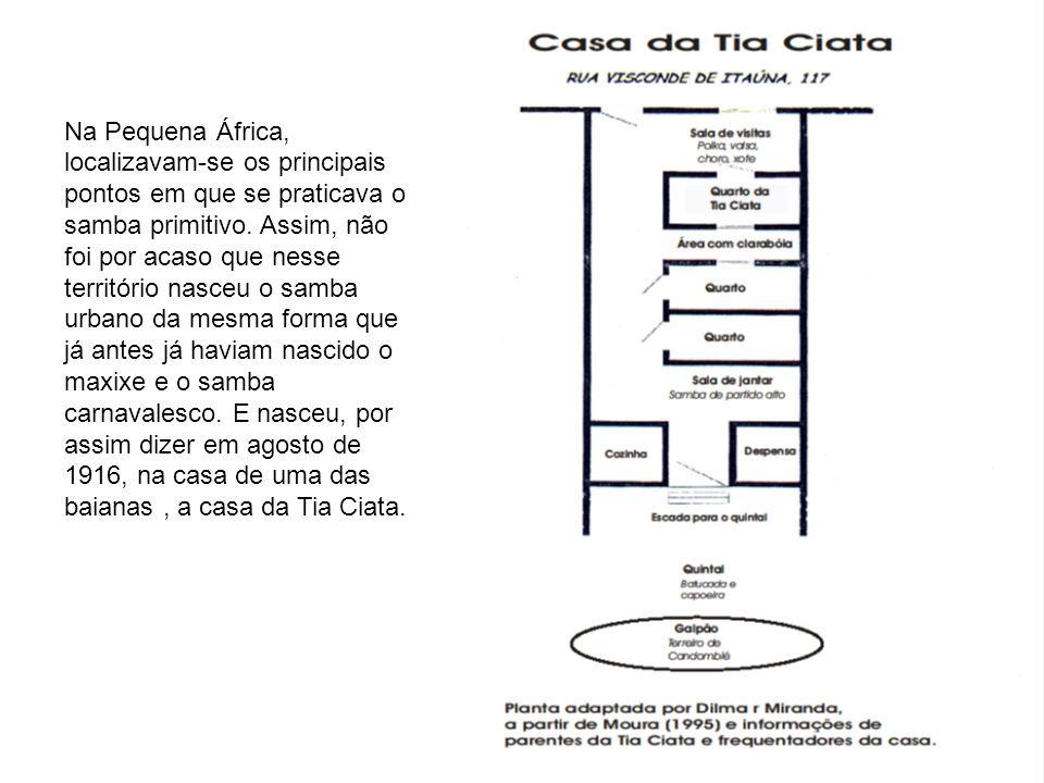 No local uma roda de batuqueiros integrada por Donga, Germano Lopes, Hilário Jovino, Sinhô entre outros, criou, em noites sucessivas, uma composição chamada de o roceiro que Donga registrou com o nome de Pelo Telefone ( samba- amaxixado).