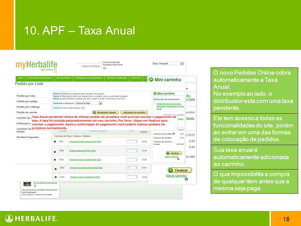 18 O novo Pedidos Online cobra automaticamente a Taxa Anual. No exemplo ao lado, o distribuidor esta com uma taxa pendente. Ele tem acesso a todas as