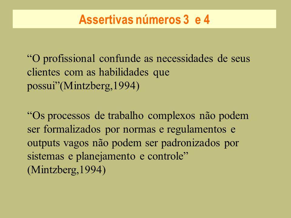 Assertivas números 3 e 4 O profissional confunde as necessidades de seus clientes com as habilidades que possui(Mintzberg,1994) Os processos de trabal