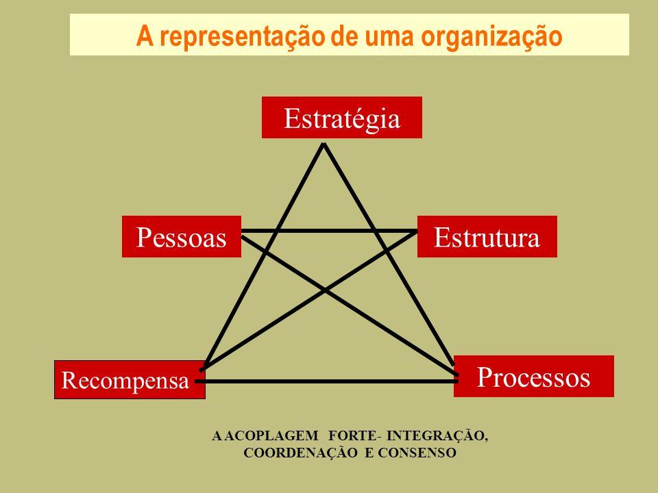 A representação de uma organização Estrutura Processos Pessoas Estratégia Recompensa A ACOPLAGEM FORTE- INTEGRAÇÃO, COORDENAÇÃO E CONSENSO