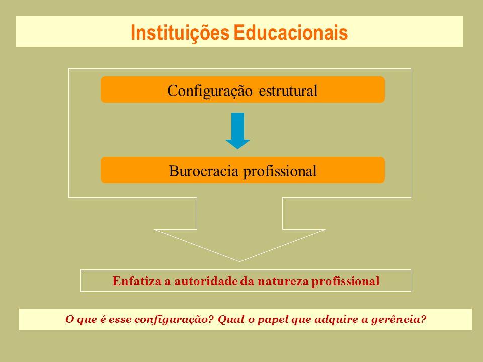 Instituições Educacionais Configuração estrutural Burocracia profissional Enfatiza a autoridade da natureza profissional O que é esse configuração? Qu