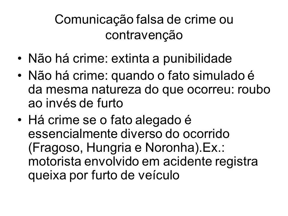 Comunicação falsa de crime ou contravenção Não há crime: extinta a punibilidade Não há crime: quando o fato simulado é da mesma natureza do que ocorre