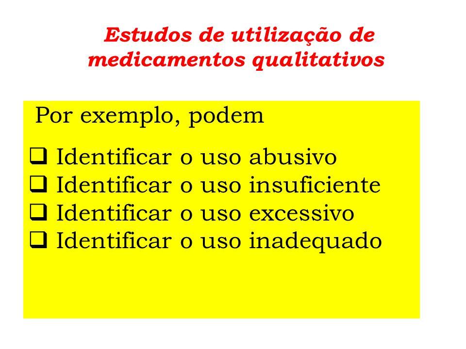 Estudos de utilização de medicamentos: exemplos de desenhos de estudos 1.EUM transversais 2.EUM prospectivos, internações completas 3.EUM retrospectivos 4.EUM no contexto de intervenções 5.EUM e Farmacovigilância