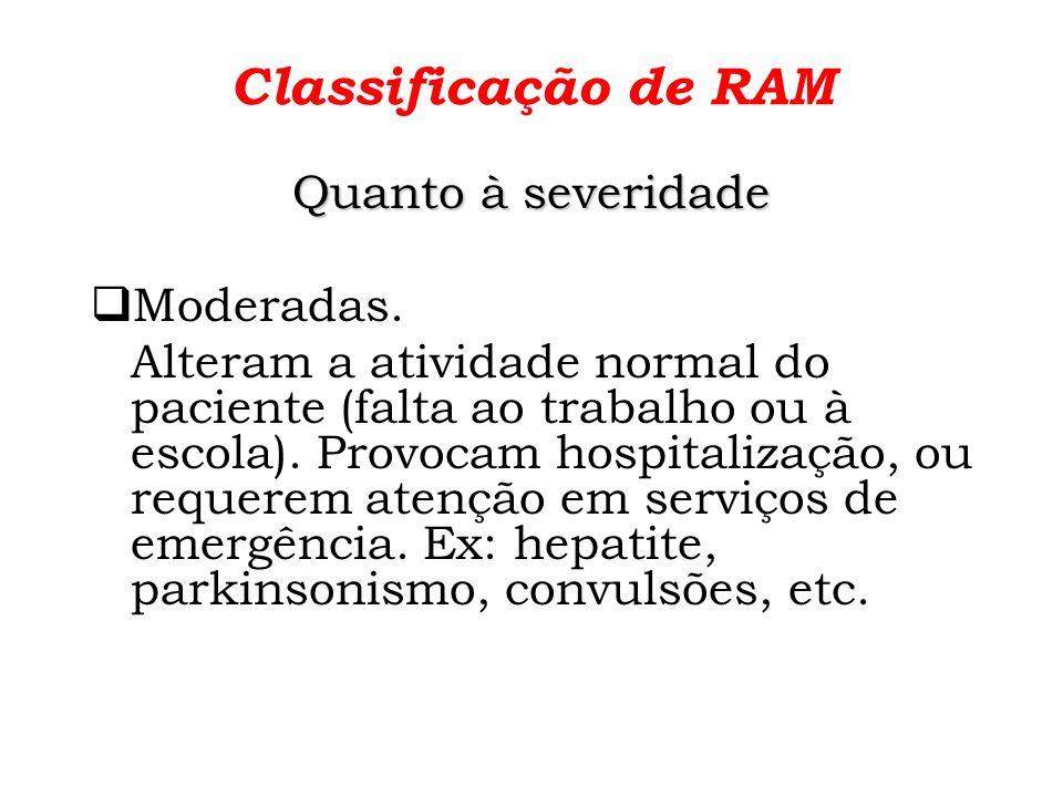 Classificação de RAM Quanto à severidade Graves Ameaçam diretamente a vida do paciente.
