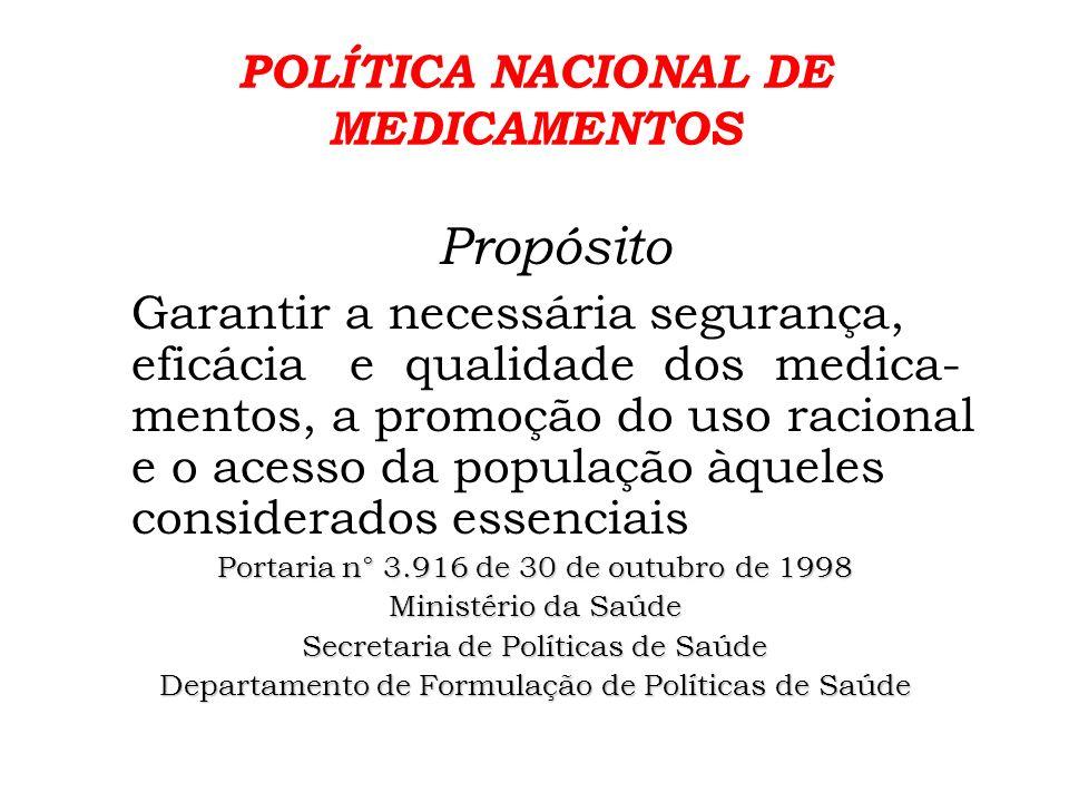 POLÍTICA NACIONAL DE MEDICAMENTOS Entre as DIRETRIZES (cap.3) propostas para que os objetivos definidos na Portaria, sejam alcançados, estão: 3.4.