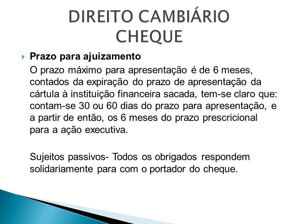 Prazo para ajuizamento O prazo máximo para apresentação é de 6 meses, contados da expiração do prazo de apresentação da cártula à instituição financei