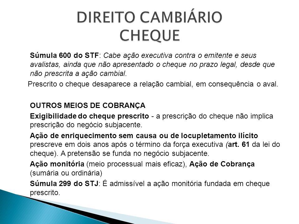 Súmula 600 do STF: Cabe ação executiva contra o emitente e seus avalistas, ainda que não apresentado o cheque no prazo legal, desde que não prescrita