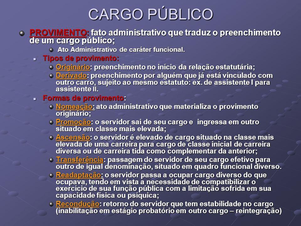 CARGO PÚBLICO PROVIMENTO: fato administrativo que traduz o preenchimento de um cargo público; Ato Administrativo de caráter funcional. Ato Administrat