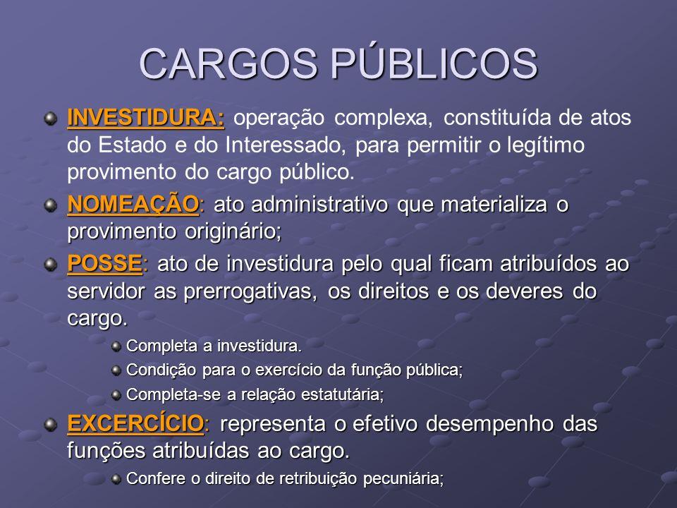 CARGOS PÚBLICOS INVESTIDURA: INVESTIDURA: operação complexa, constituída de atos do Estado e do Interessado, para permitir o legítimo provimento do ca