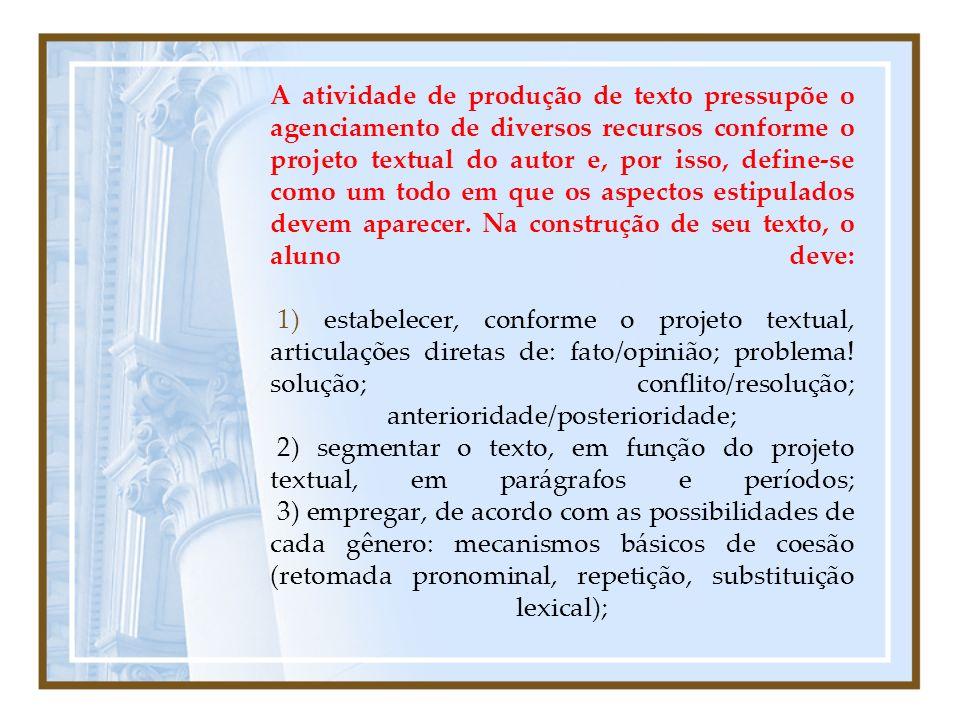 A atividade de produção de texto pressupõe o agenciamento de diversos recursos conforme o projeto textual do autor e, por isso, define-se como um todo