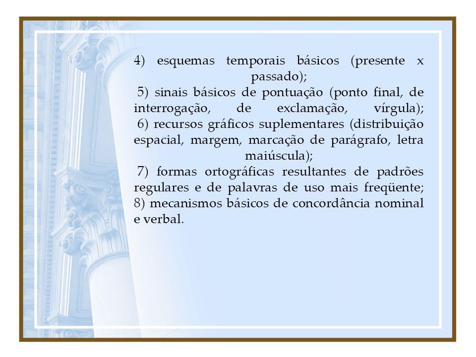 4) esquemas temporais básicos (presente x passado); 5) sinais básicos de pontuação (ponto final, de interrogação, de exclamação, vírgula); 6) recursos