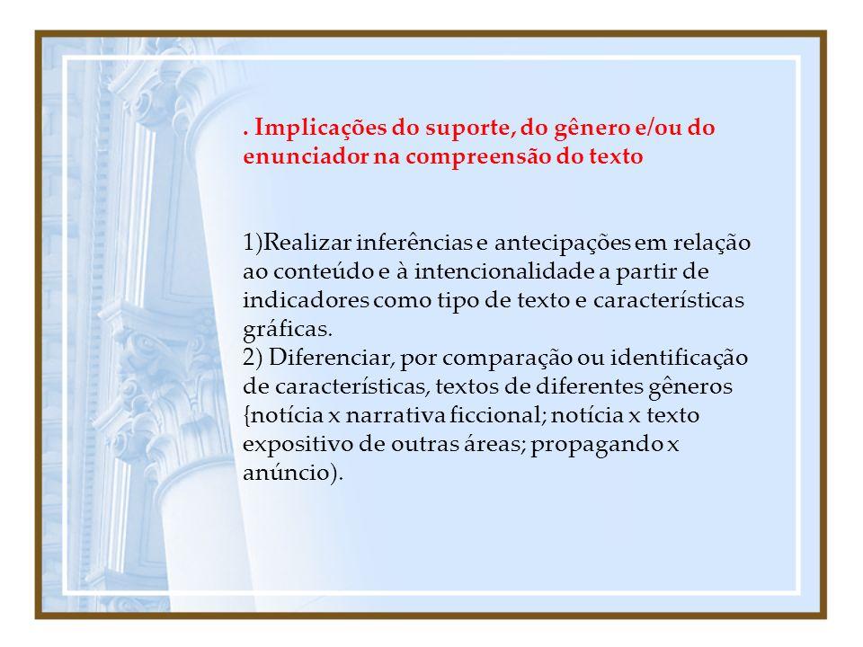 . Implicações do suporte, do gênero e/ou do enunciador na compreensão do texto 1)Realizar inferências e antecipações em relação ao conteúdo e à intenc