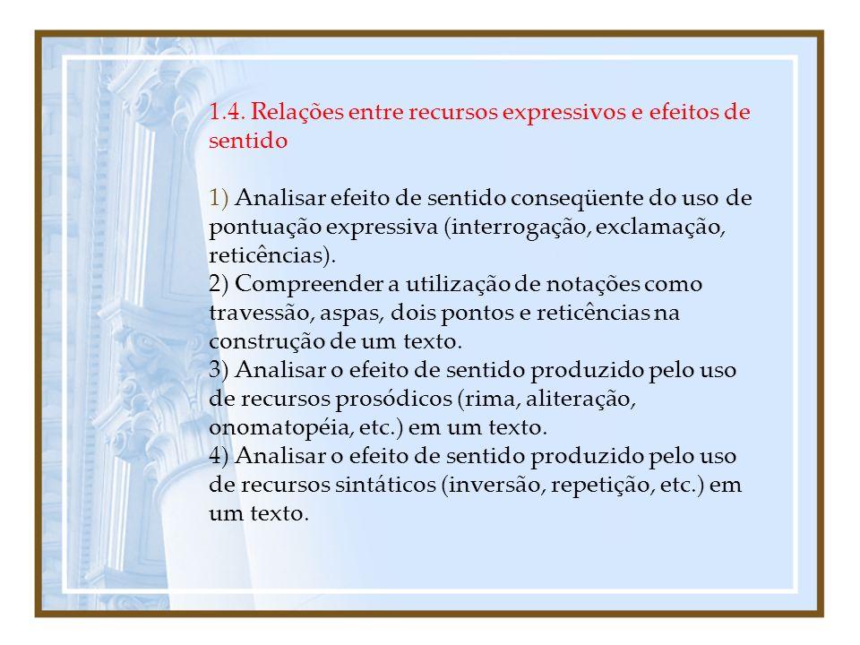 1.4. Relações entre recursos expressivos e efeitos de sentido 1) Analisar efeito de sentido conseqüente do uso de pontuação expressiva (interrogação,