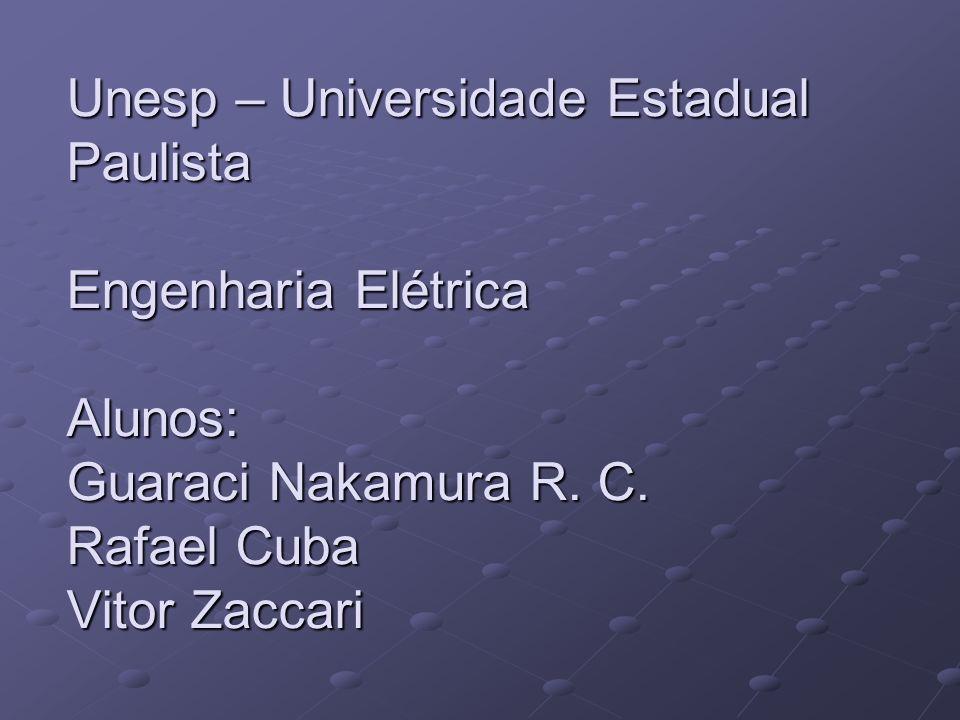 Unesp – Universidade Estadual Paulista Engenharia Elétrica Alunos: Guaraci Nakamura R. C. Rafael Cuba Vitor Zaccari