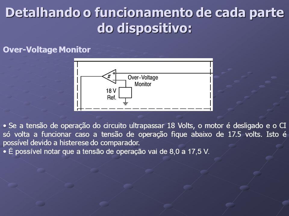 Over-Voltage Monitor Se a tensão de operação do circuito ultrapassar 18 Volts, o motor é desligado e o CI só volta a funcionar caso a tensão de operaç