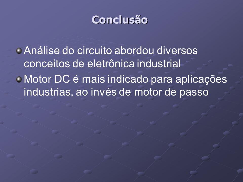 Conlusão Conclusão Análise do circuito abordou diversos conceitos de eletrônica industrial Motor DC é mais indicado para aplicações industrias, ao inv