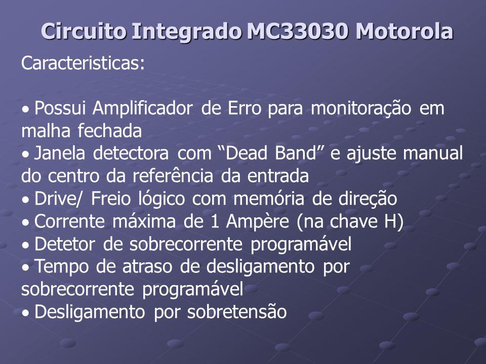 Circuito Integrado MC33030 Motorola Caracteristicas: Possui Amplificador de Erro para monitoração em malha fechada Janela detectora com Dead Band e aj