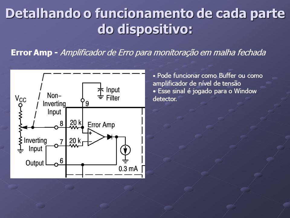 Detalhando o funcionamento de cada parte do dispositivo: Error Amp - Amplificador de Erro para monitoração em malha fechada Pode funcionar como Buffer