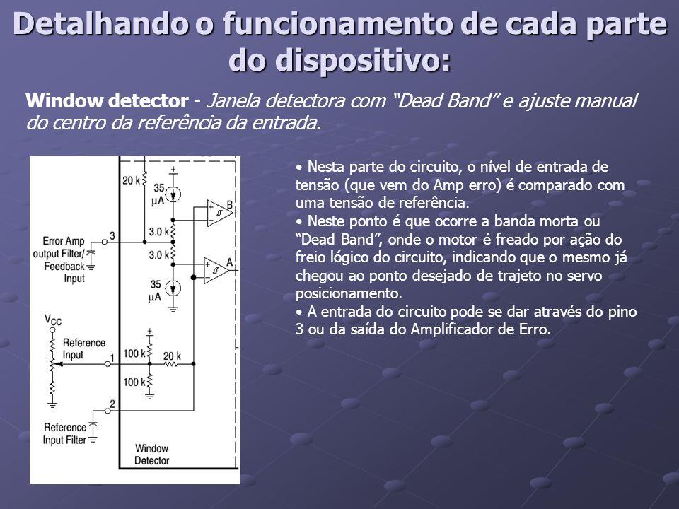 Drive Brake Logic – Drive / Freio lógico com memória de direção As duas entradas a esquerda são as saídas A e B do circuito comparador (window detector) A em nível lógico alto gira num sentido.