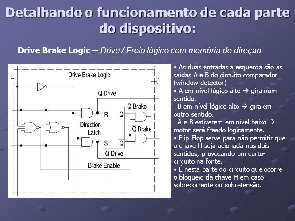 Drive Brake Logic – Drive / Freio lógico com memória de direção As duas entradas a esquerda são as saídas A e B do circuito comparador (window detecto