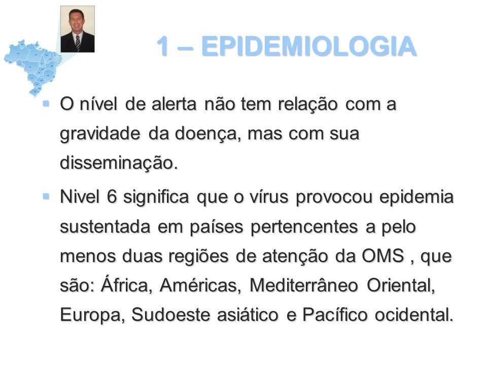 1 – EPIDEMIOLOGIA No Brasil, até o momento desta gravação em 9 de julho de 2009 foram confirmados 977 casos, tendo ocorrido 01 morte.