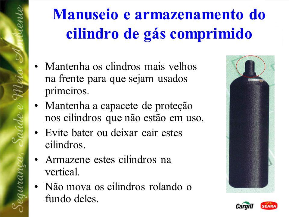 Manuseio e armazenamento do cilindro de gás comprimido Nunca aceite cilindros de gás comprimido que foi transportado na posição horizontal; Armazene e