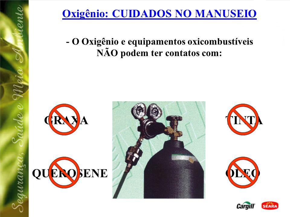 Oxigênio (0 2 - nº ONU 1072) Características: Incolor; Comburente (alimenta chamas); Oxidante. Acondicionamento: Estado gasoso: Cilindros de Alta Pres