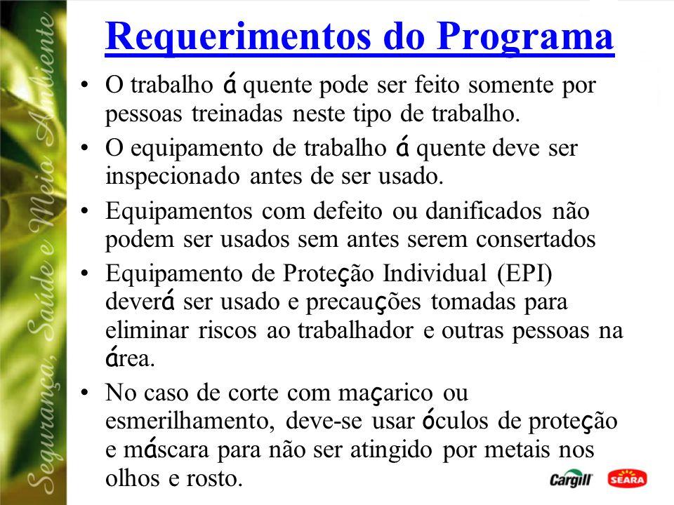Requerimentos do Programa O trabalho á quente pode ser feito somente por pessoas treinadas neste tipo de trabalho.
