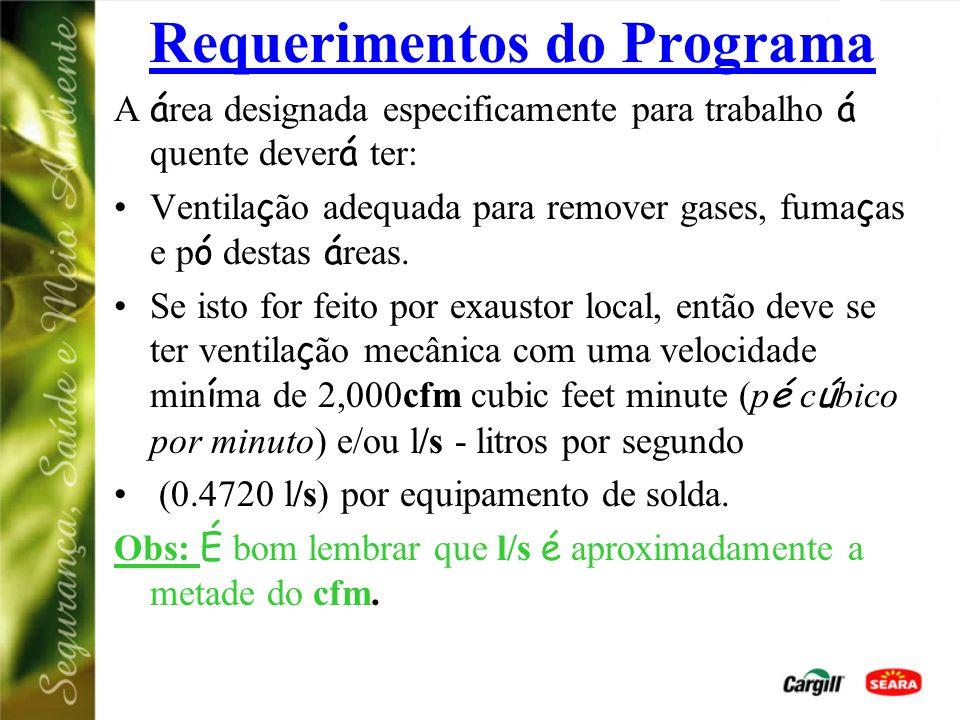 Requerimentos do Programa O trabalho á quente pode ser feito somente por pessoas treinadas neste tipo de trabalho. O equipamento de trabalho á quente