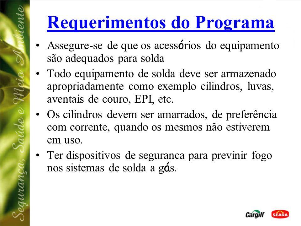 Requerimentos do Programa Assegure-se de que os acess ó rios do equipamento são adequados para solda Todo equipamento de solda deve ser armazenado apropriadamente como exemplo cilindros, luvas, aventais de couro, EPI, etc.