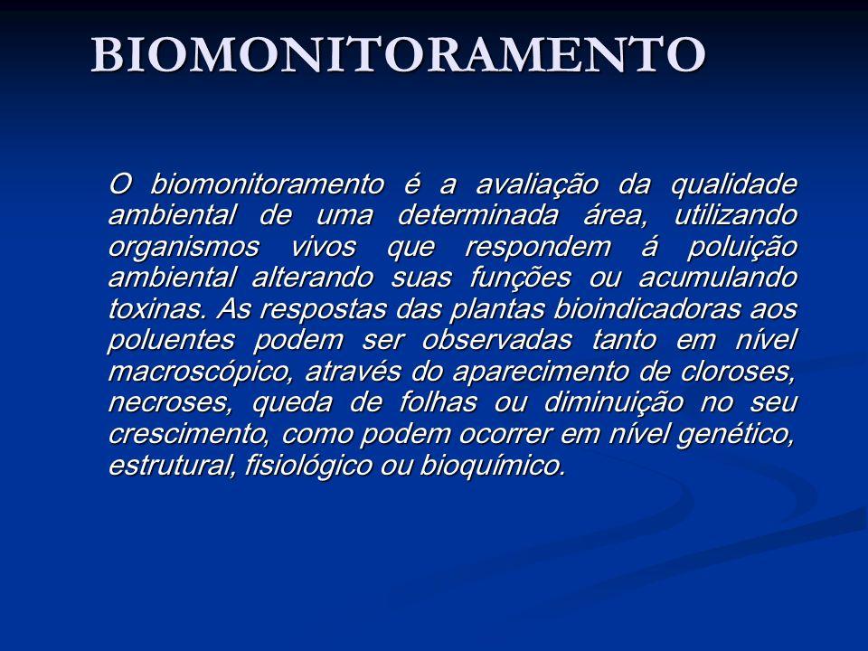 BIOMONITORAMENTO O biomonitoramento é a avaliação da qualidade ambiental de uma determinada área, utilizando organismos vivos que respondem á poluição