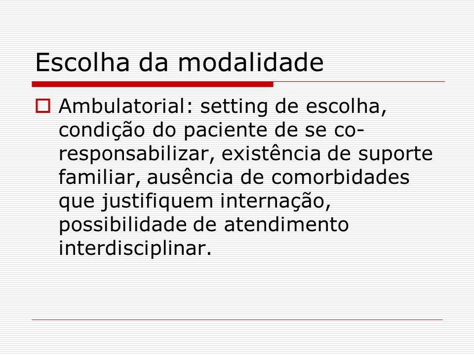 Escolha da modalidade Ambulatorial: setting de escolha, condição do paciente de se co- responsabilizar, existência de suporte familiar, ausência de co