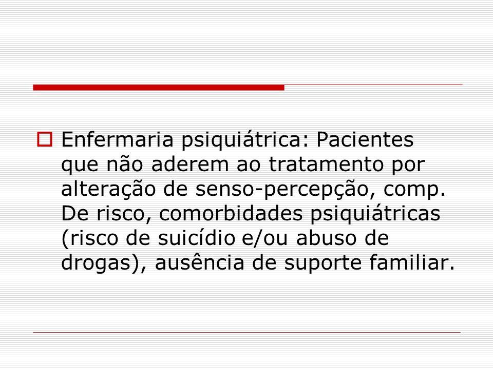 Enfermaria psiquiátrica: Pacientes que não aderem ao tratamento por alteração de senso-percepção, comp. De risco, comorbidades psiquiátricas (risco de