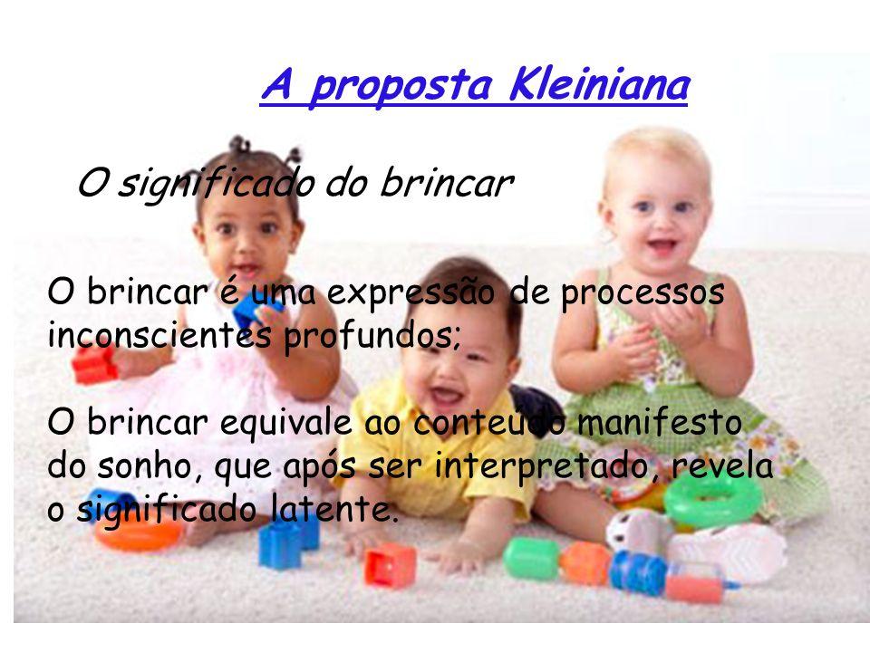 A proposta Kleiniana O significado do brincar O brincar é uma expressão de processos inconscientes profundos; O brincar equivale ao conteúdo manifesto