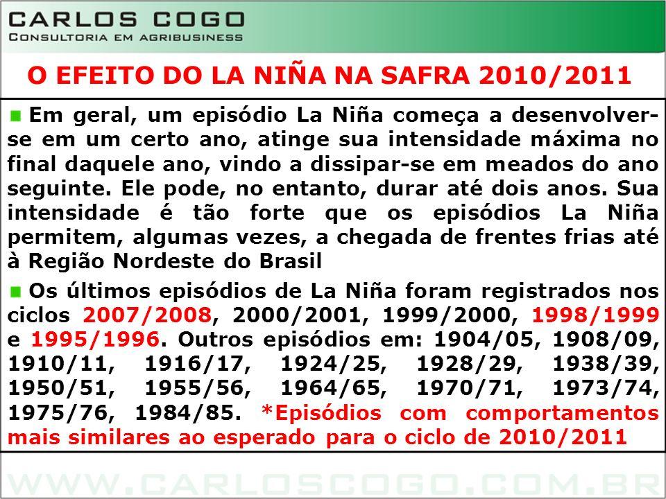 14 Em geral, um episódio La Niña começa a desenvolver- se em um certo ano, atinge sua intensidade máxima no final daquele ano, vindo a dissipar-se em