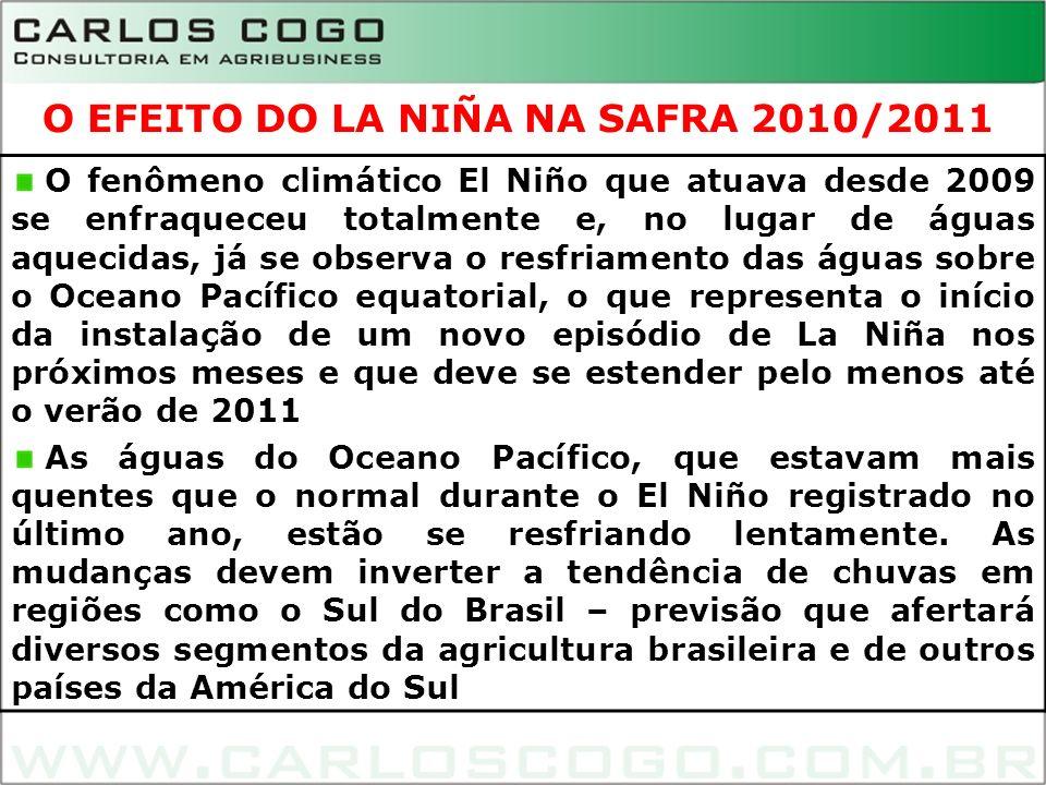 O EFEITO DO LA NIÑA NA SAFRA 2010/2011 O fenômeno climático El Niño que atuava desde 2009 se enfraqueceu totalmente e, no lugar de águas aquecidas, já