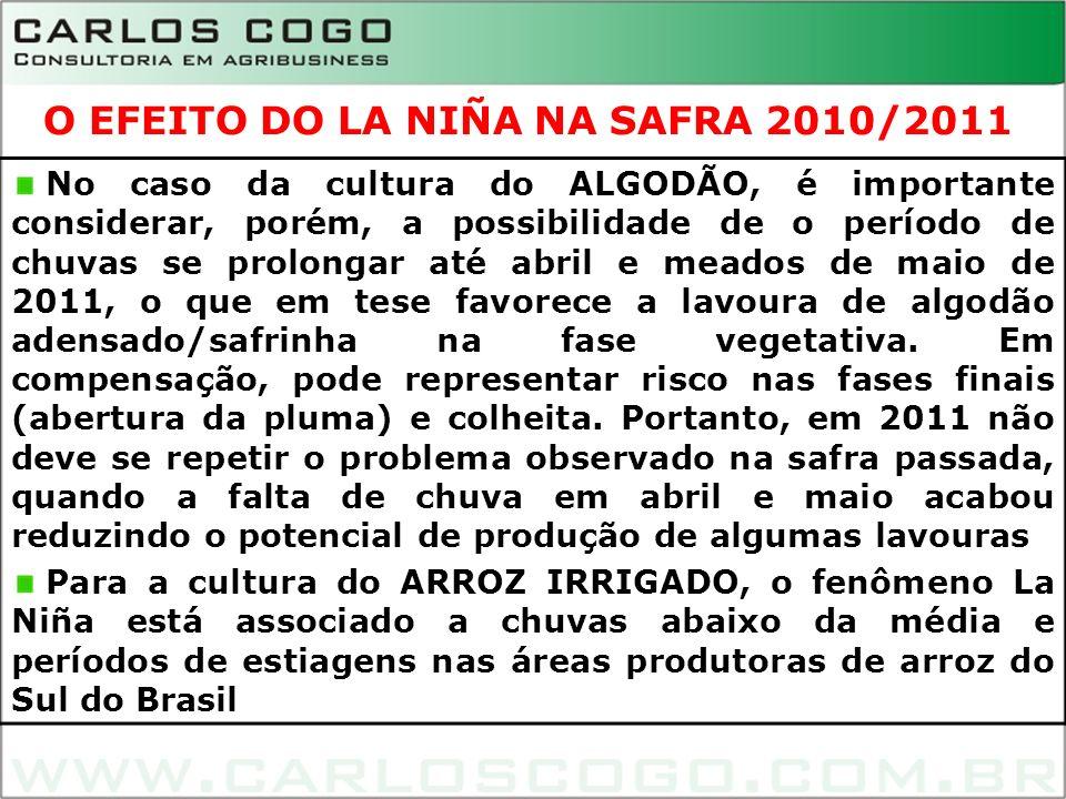 7 No caso da cultura do ALGODÃO, é importante considerar, porém, a possibilidade de o período de chuvas se prolongar até abril e meados de maio de 201