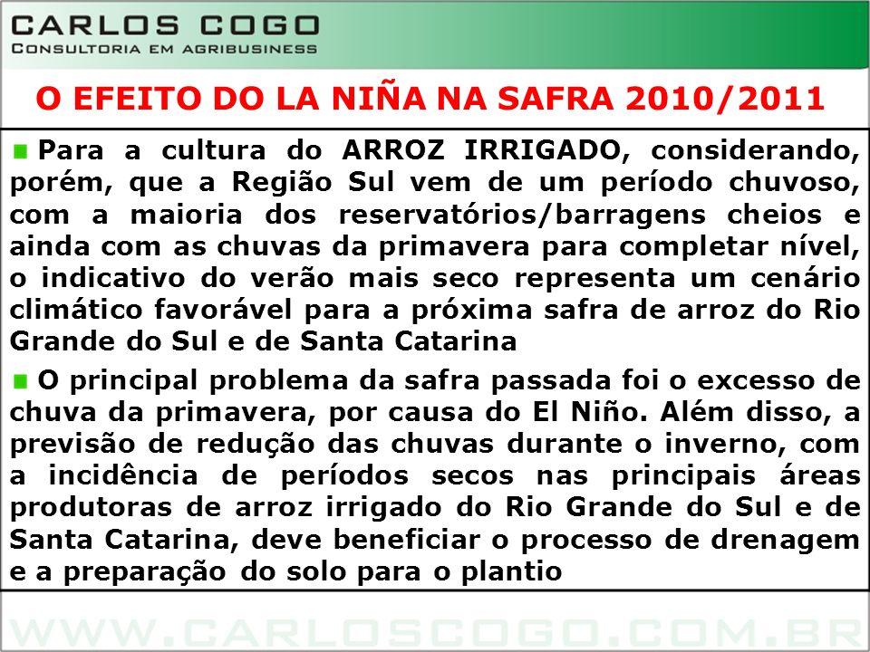 8 Para a cultura do ARROZ IRRIGADO, considerando, porém, que a Região Sul vem de um período chuvoso, com a maioria dos reservatórios/barragens cheios