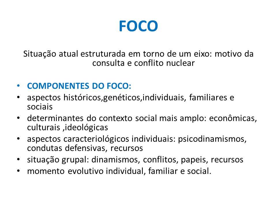 FOCO Situação atual estruturada em torno de um eixo: motivo da consulta e conflito nuclear COMPONENTES DO FOCO: aspectos históricos,genéticos,individu