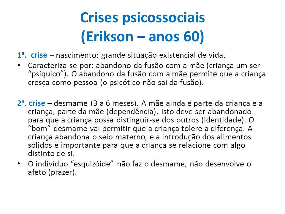 Crises psicossociais (Erikson – anos 60) 1 a. crise – nascimento: grande situação existencial de vida. Caracteriza-se por: abandono da fusão com a mãe